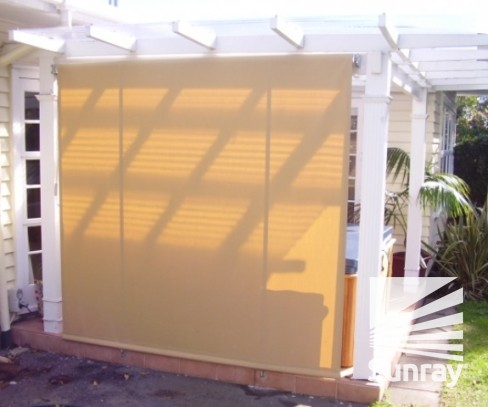 Drop down awning closed