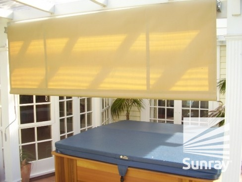 Drop down awning half open