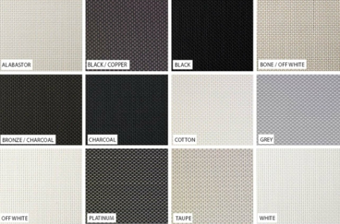 Solarview fabric colour guide