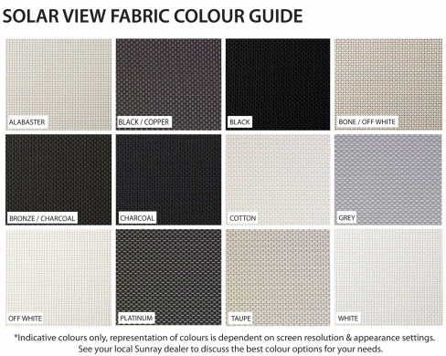 Solarview fabric colours