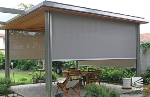 SolarzipTM Drop Down Awnings For Sheltering Outdoor Areas